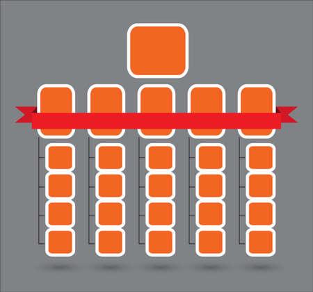 Simple ogranization structure template with red ribbon Ilustração