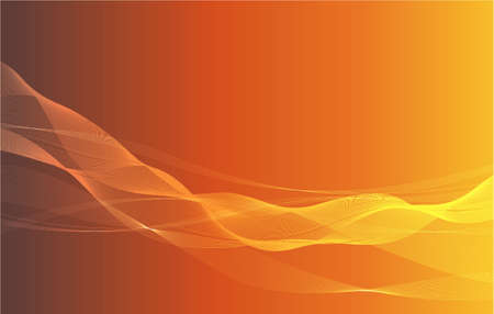 Abstract flowing lines background on orange gradient Ilustração