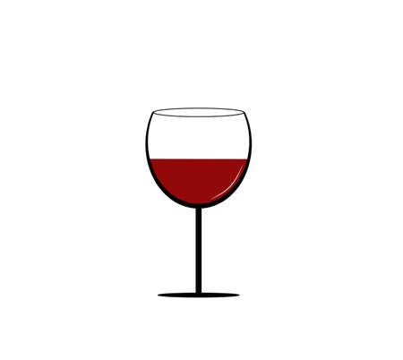 Simple wine glass illustration with red wine