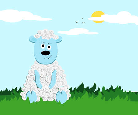 Funny little sheep character illustration for children Ilustração
