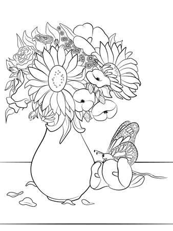 Vase with flowers - Coloring page for adults and kids.