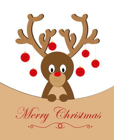 Marry Christmas reindeer character illustration