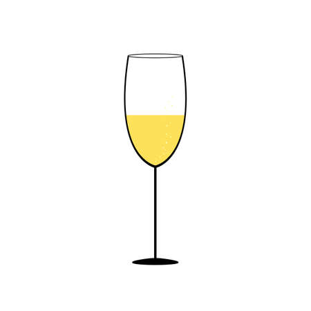 Glass of champagne - simple vector illustration