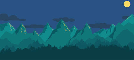 Blue panoramatic mountain landscape - simple flat vector illustration