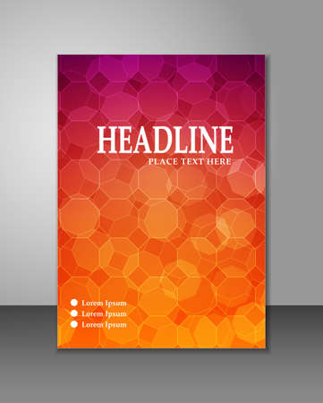 Heptagon corporate brochure template on colorful gradient Ilustração