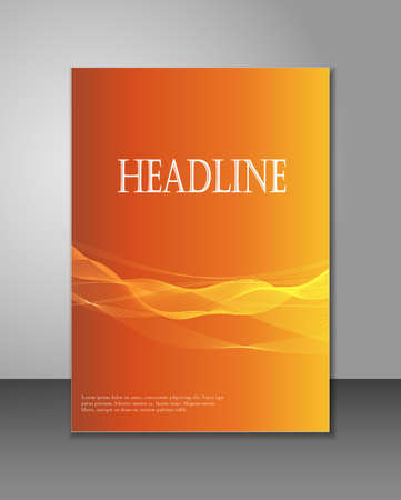 Corporate brochure template - abstract lines on orange backtround - can be used for magazine, brochure, flyer, and other corporate publications