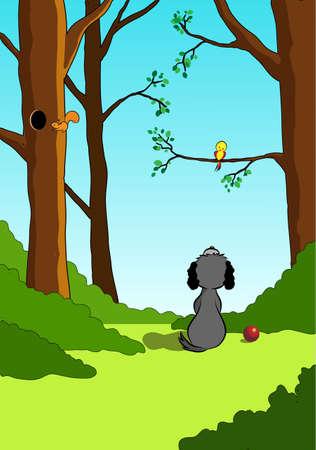 My little friend - vector illustration of dog and little yellow bird on tree