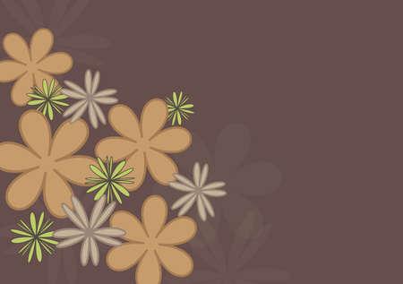 Simple beige flowers on brown background