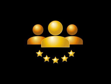 Flat golden icon. Social media, three people with five stars