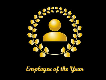 Employee of the year award. Golden icon on black background