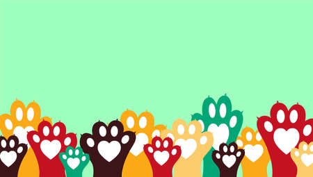 Simple banner with colorful animal paws - can be used as contact card