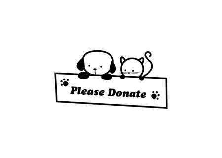 simple illustration of cat and dog asking for donation