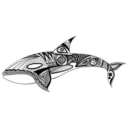 Vector illustration of a whale in graphic abstract style