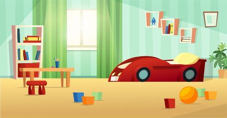 Kids room front view vector illustration in flat style design. Red car bed, bookshelf, table, chair, toys and sunlight from window.
