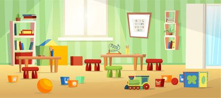 Kindergarten room for kids. Nursery for kids, little children. Flat style design