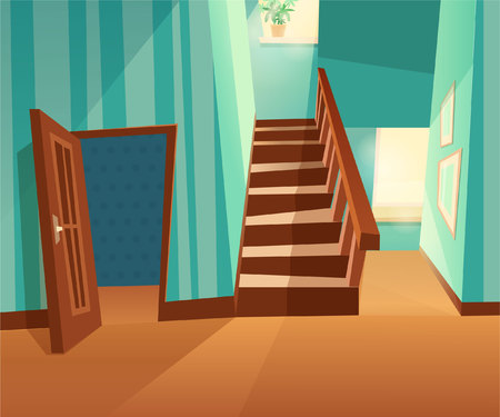 Vector front view interior with windows and windows. House inside opened door. Cute illustration of a staircase for kids game.