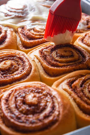 Fresh Cinnamon Rolls Sweet and Tasty Cinnabons with Frosting