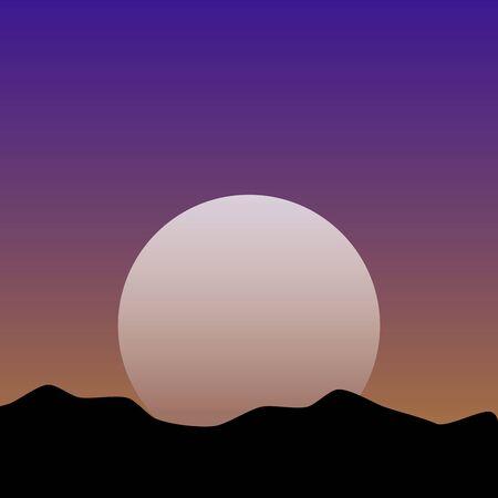 Puesta del sol o amanecer sobre las montañas Ilustración de vector