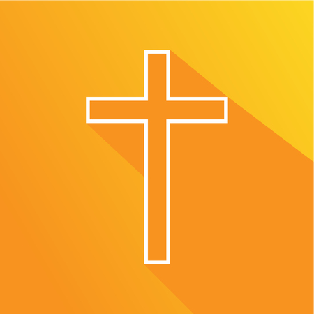 Christian symbol. Cross, crucifix, symbol of the Christian faith, on an orange background with long shadow