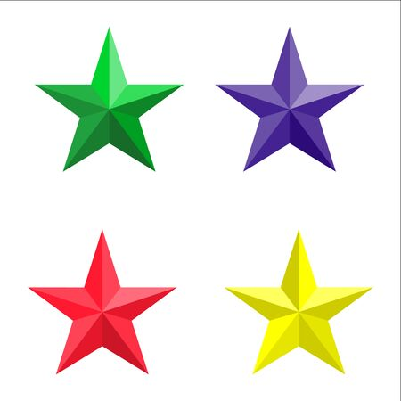 five pointed: colored stars on a white background