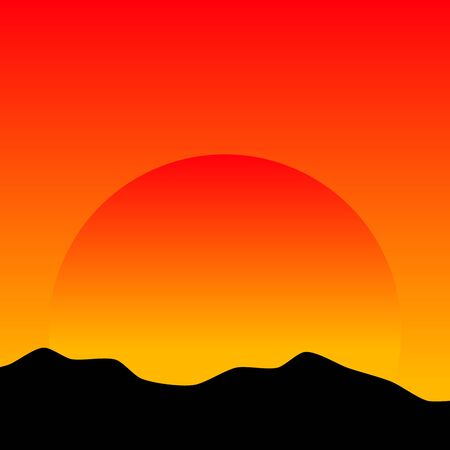 range: Sunset in the mountains. Vector illustration.