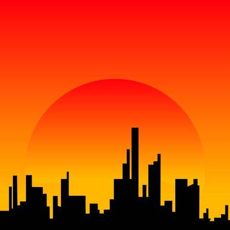 Skyline van de stad zonsondergang stedelijk landschap. Cityscape silhouet in vlakke stijl Vector Illustratie