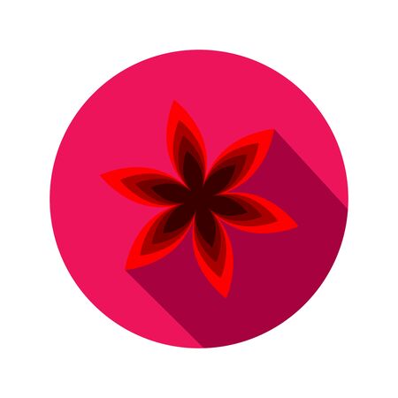 primula: Spring flowers. Floral symbol. Round flat icon with long shadow.