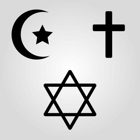 Symbols of the three world religions .Vector illustration