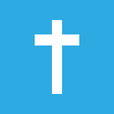 white cross on a blue background