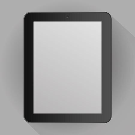 Realistische grijze tablet geïsoleerd op een grijze achtergrond met schaduw. vector illustratie