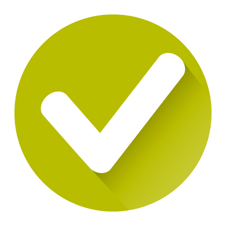 yellow check icon with shadow on white background Eps 10 Illustration