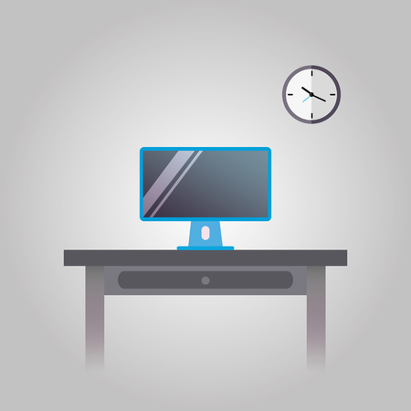 Office workplace with computer, vector illustration.
