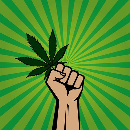 hand holding a sheet of marijuana Vectores