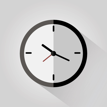 Clock flat icon on white background with long shadow