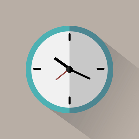 Clock flat icon on gray background with long shadow Illustration