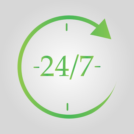 Open 24 hours a day and 7 days a week icon isolated on grey background. All day cyclic icon. Flat design. Vector Illustration