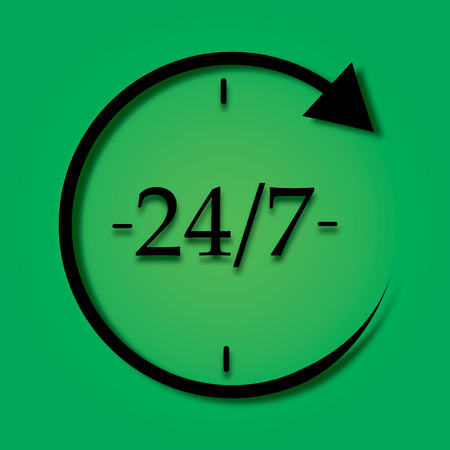 Open 24 hours a day and 7 days a week icon isolated on green background. All day cyclic icon. Flat design. Vector Illustration