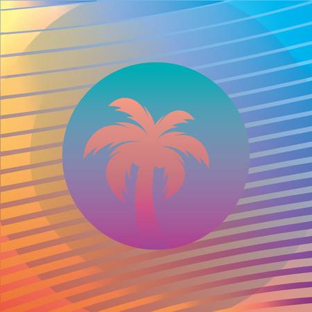 Palmenschattenbilder auf einem Steigungshintergrundsonnenuntergang. Stil der 80er und 90er, Web-Punk, Vaporwave, Kitsch.