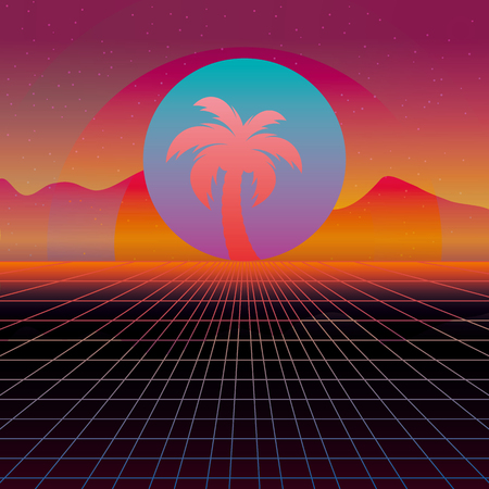 3D Background Illustration Inspired by 80s Scene, synthwave and retrowave music. 일러스트