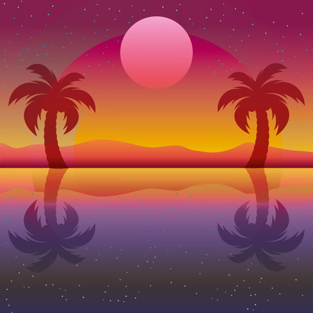 Silhouette of palm with sun seaside vector illustration