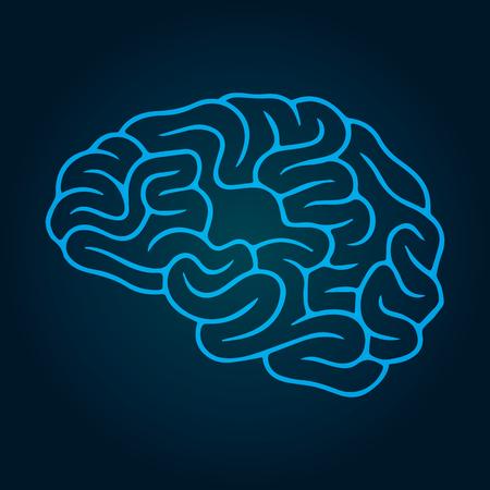 Vector illustration, three-dimensional brain on a dark background  イラスト・ベクター素材