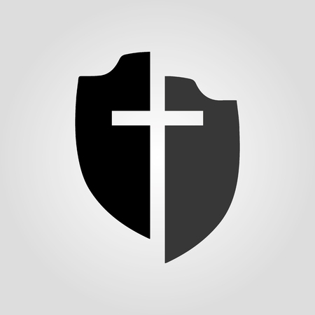 Shield with cross in flat design, isolated on light background. Vector illustration. 일러스트