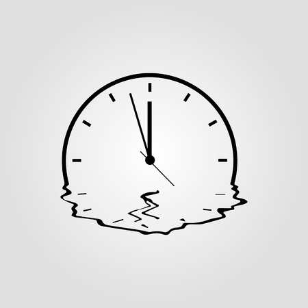 Melting clock simple vector icon isolated on white background. Meited time, organisation of the future or expiration concept with watch symbol Ilustração