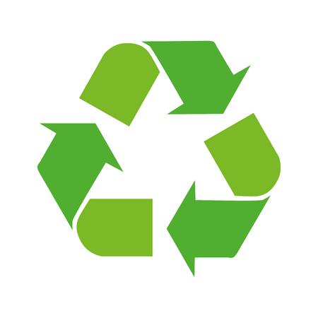 Le frecce verdi riciclano l'illustrazione di vettore di simbolo di eco isolata su fondo bianco. Segno riciclato. Icona del ciclo riciclato. Simbolo di materiali riciclati.