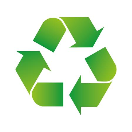 Grüne Pfeile recyceln die Öko-Symbolvektorillustration, die auf weißem Hintergrund lokalisiert wird. Recyceltes Zeichen. Zyklus recyceltes Symbol. Symbol für recycelte Materialien.