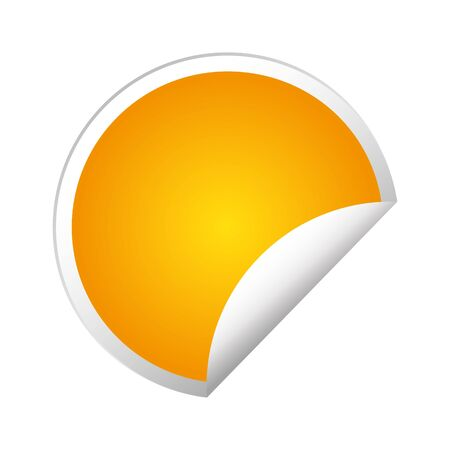 Leere goldene runde Aufkleber mit gekräuselten Ecken, realistisches Modell