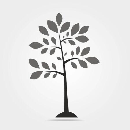 Black vector simple decorative tree icon isolated on white background 일러스트