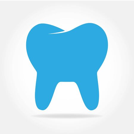 Tooth icon in flat style. Vector illustration. Blue Tooth icon isolated.