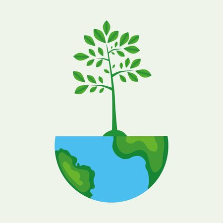 Ecology concept, Creative drawing on global environment, the green silhouette of a tree on the globe, Vector illustration modern design template 向量圖像