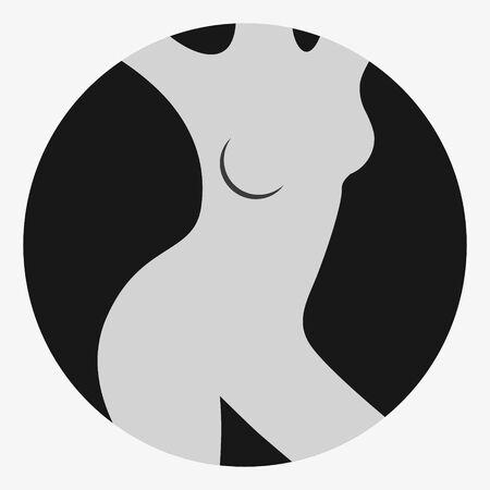 Female figure. Outline of young girl. Stylized slender body. Linear Art. Black and white vector illustration. Contour of a slender figure. Foto de archivo - 130641485